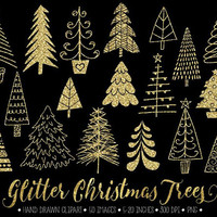 Gold Glitter Christmas Tree Clip Art. Doodle Christmas Trees. Hand Drawn Winter Images. Sparkly Gold Christmas Clipart for Gift Tags, Cards.