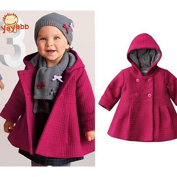 New 2016 Hot Winter Child Coat Girl Jacket Pink Baby Girl Jacket Fashion Children's Coats 1-3 Years Size Infant Outerwear