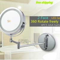 7 inch Dual Arm Extend bathroom mirror with Battery LED light 2-Face wall hanging Makeup mirror bath 5 x magnification