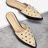 Studded Point Toe Flat Mules