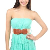 lace belted tiered tube with natural crochet belt - debshops.com