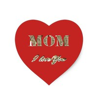 Mom I Love You Gold Sparkles Typography Heart Sticker