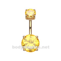 Yellow Colorline Gem Prong Sparkle Belly Button Ring Stainless Steel Body Jewelry