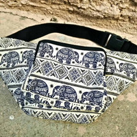 Fanny pack elephants print festival tribal Boho bum bag Ethnic Styles belt belly Pouch Travel phanny waist bags Ikat Hippies Bohemian in Red