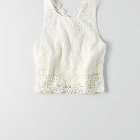 AEO Eyelet Crop Top , White