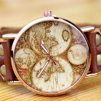 Genuine brown leather map of the world watches - neutral watches - one of the best friendship gift, Christmas gift