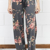 Soft Floral Print Lounge Pants {Charcoal Mix}
