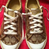 Coach Poppy Barret Sneakers Womens 8.5 Gold Accent, Brown Khaki - LBN!