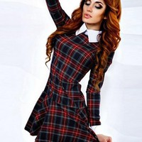 Red Plaid Ruffle Tartan Peter Pan Collar Long Sleeve Mini Dress