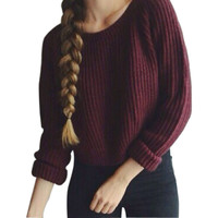 2016 Autumn Winter Women Sweaters Tops Pullovers Long Sleeve Casual Crop Sweater Slim Solid Knitted Jumpers Sweaters Mujer M0449
