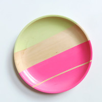 Modern Pastel Hardwood Serving Tray, Cranberry Pink/Pistachio Green