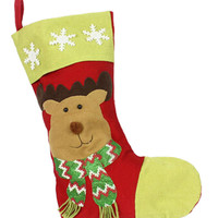 Elk And Snowflake Patched Christmas Stocking