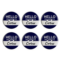 Crew Hello My Name Is Plastic Resin Button Set of 6