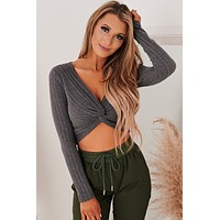 Wish You The Best Twist Front Crop Top (Charcoal)