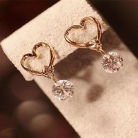 Fashion Women  Crystal  Heart Design Earring Sexy Personalized Gift Jewelry