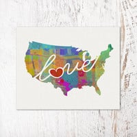 United States (USA, US) Love - An Unframed Watercolor-Style, Modern Wall Art Print. A Thoughtful Adoption, Vacation, Housewarming Gift