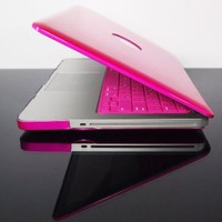 """TopCase Metallic Solid Hot Pink Hard Case Cover for Macbook Pro 13"""" A1278 with Mouse Pad"""