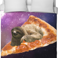 Sloth Galaxy Pizza~ Duvet Cover