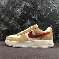 Nike Air Force 1 AF1 Low Denim Pack Jersey Gold / Sport Red-White Shoes