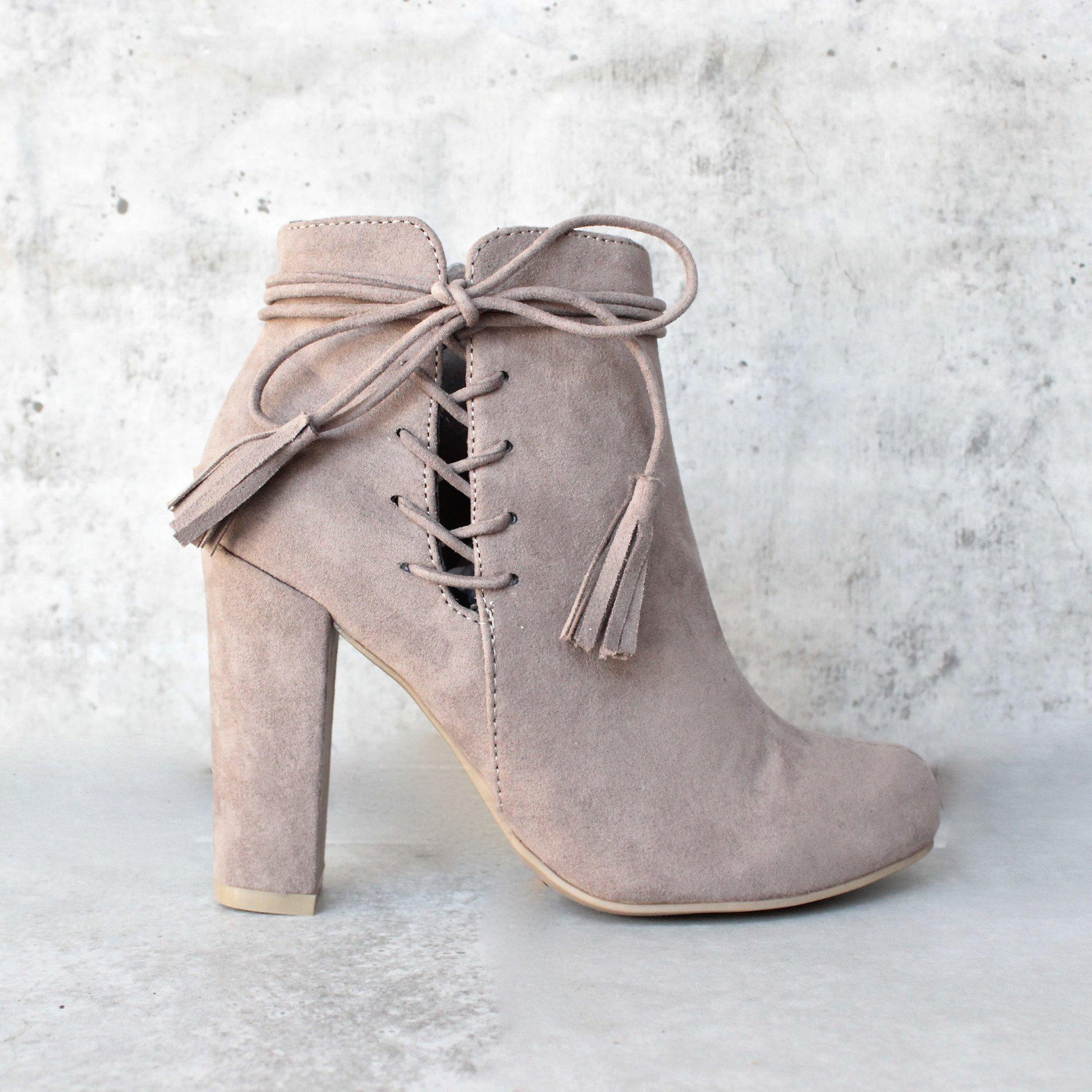 Image of tassel lace up side ankle boots - taupe