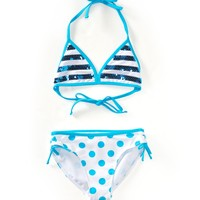 KIDS' SEQUIN STRIPE DOT BIKINI SET