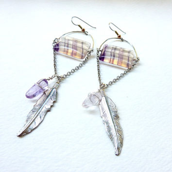 Fluorite Feather Statement Earrings. Bohemian Cosmic Crystals