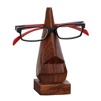 Hand Carved Wooden Nose Shaped Spectacle Holder, Brown By Benzara