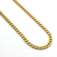 "Mens 24"" Stainless Steel 6mm Gold Cuban Curb Link Chain Necklace"