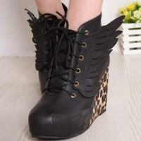 HOT Womens Spike Studded High Cuban Heels Platform Lace Up Punk Ankle Boot Shoes