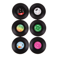 6pcs/lot Home Table Cup Mat Food Grade Plastic Coffee Drink Placemat Tableware Spinning Retro Vinyl CD Record Drinks Coasters