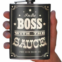 Boss with the Sauce Stainless Steel Flask - 8oz.