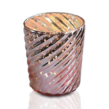 Mercury Glass Candle Holder (3-Inch, Grace Design, Rose Gold Pink) - for use with Tea Lights - for Home Décor, Parties and Wedding Decorations
