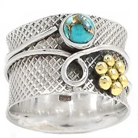 """Turquoise """"Garden"""" Two Tone Sterling Silver Band Ring"""