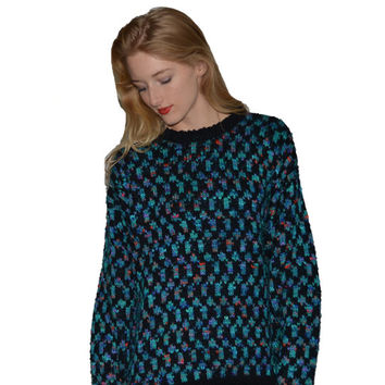 Vintage Teal and Black Pasta Sweater Checkered Oversized Soft Pullover Womens Size Medium Colorful Winter
