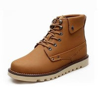 ZLYC Vintage Britsh Style Men's Brown Leather Lace Up Ankle Boots Work Boots