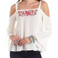 Ivory Embroidered Cold Shoulder Peasant Top by Charlotte Russe