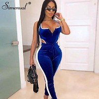 Simenual Velvet Sexy V Neck Women Matching Set Fashion 2019 Sleeveless Athleisure Two Piece Outfits Hot Bodysuit And Pants Sets