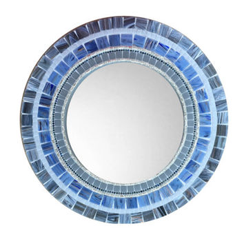 Blue and Gray Round Wall Mirror, Accent Mirror, Mosaic Mirror, Unique Home Decor