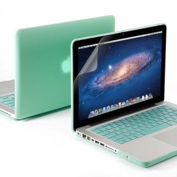 """3 in 1 Robin Egg Blue Turquoise Matte Rubber Coated Hard Case Cover for 13.3"""" Inches Macbook Pro - With Robin Egg Blue Turquoise Silicon Keyboard Protector - 13 Inches Clear LCD Screen Protector"""