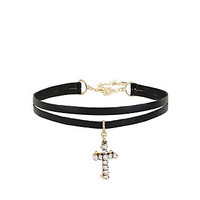 BETSEYS CROSS CHOKER: Betsey Johnson