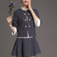 Half Sleeve Mandarin Collar Buttoned Top with A-Line Mini Skater Skirt Set