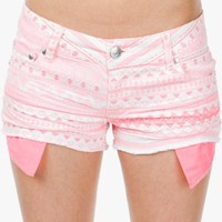 A'GACI Neon Pink Aztec Cut Off - BOTTOMS