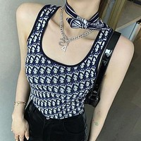 DIOR CD jacquard knitted vest women's outer wear summer new style U-neck bottoming hot girl suspender top short