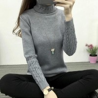 Women Turtleneck Long Sleeve Knitted Women Sweaters And Pullovers Jumper Tops Jersey