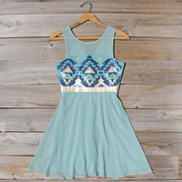 Stone Spell Beaded Dress in Sage