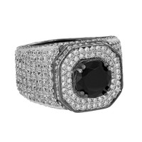Solitaire Black Stone Ring Iced Out Simulated Diamonds Custom Mens