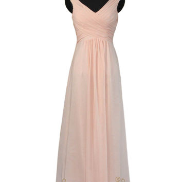 2016 A-line Pearl Pink Chiffon Bridesmaid Dress With V Neckline AM467