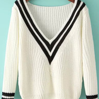 White V Neck Striped Long Sleeve Knit Sweater