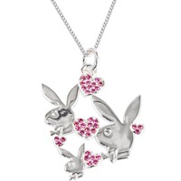 Officially Licensed PLAYBOY Pink RHINESTONE HEARTS Necklace