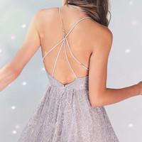 Kimchi Blue Victoria Sweetheart Shimmer Lace Romper - Urban Outfitters